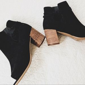 NEW! Black Suede Peep Toe Ankle Boots // Mark A.